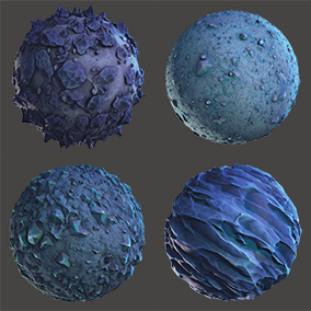 8 PBR stylized lunar(alien planet) materials