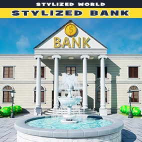 Stylized bank with exterior and interiors