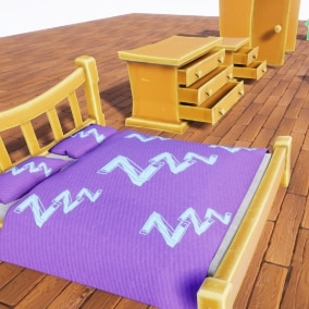 Pack contains Stylized Bedroom Furniture models. Suitable for PC/Console