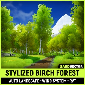 Stylized Birch Forest with Auto Landscape material and Simple Wind System