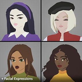 Four stylized woman in casual design with facial expressions (Morph targets).