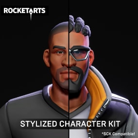 Modular stylized male character. Contains hairstyles, accessories, and several body parts options.