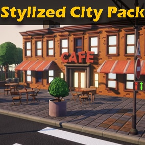 Stylized pack of models and textures for creating a city environment. Contains assets for creating buildings, roads, parks and surroundings.