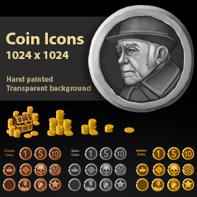 Set of 48 hand drawn coin icons.