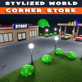 Stylized Corner store with interior and exterior