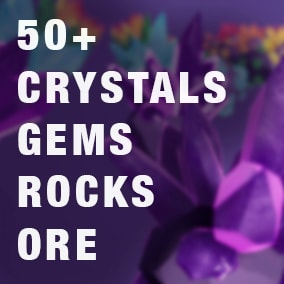 This stylized pack contains a variety of hand-sculpted crystals, rocks, minerals, ore and cut gemstones with customizable material.