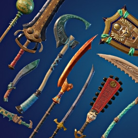 This pack has beautifully crafted weapons with a mix of cultural themes.
