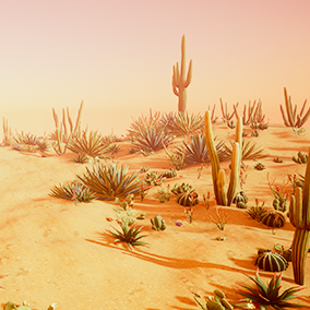 This pack includes over 20 stylized, game-ready desert plants.