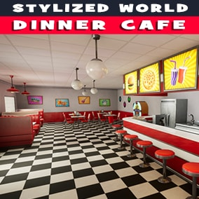 Stylized Dinner Cafe with interior and exterior