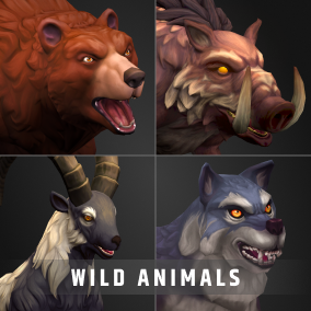 Stylized RPG animal pack with color customization, Blendshapes and HueShift node for your RPG, MOBA, or MMO