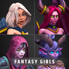 Stylized RPG character pack with lots of options for customization for your RPG, MOBA, or MMO