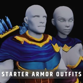 Stylized Fantasy RPG character outfits with animations & customization including HueShift node for your RPG, MOBA, or MMO