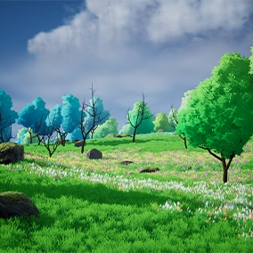 Stylized Grasslands Landscape with foliage and rocks