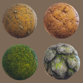 Set of 9 PBR stylized Forest Mats.
