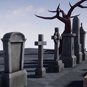 Nine gravestones with a coffin, lantern, shovel, and a tree.