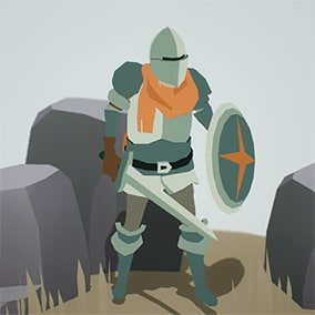 Stylized low poly knight with a removable helmet, sword, shield and cloth cape.