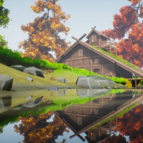 A stylized log cabin of high quality, fully modular.