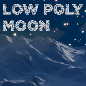 Stylized low poly Moon environment - with custom sky