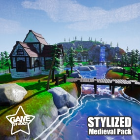 Pack contains Stylized Modular Medieval Village game assets. Suitable for PC/Console