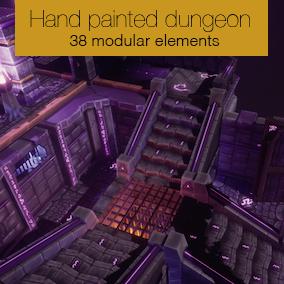 Modular hand painted dungeon assets