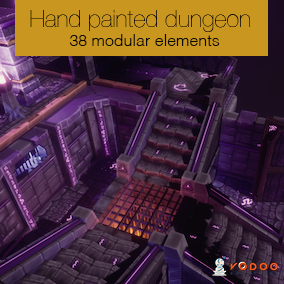 Modular hand painted dungeon assets