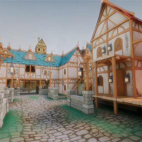 The Stylized Modular Medieval Town pack contains a variety of modular assets to create your own unique and wondrous buildings, WITH interiors! Also included is several pre-made buildings to get your town populated in no time.
