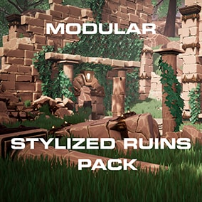 Low poly game ready modular environment pack of fantasy style ruins