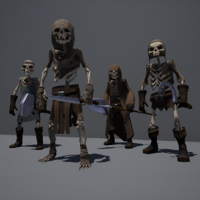 Customizable game ready modular skeleton with medieval clothing sets/weapons and with tweakable colors. You can choose from over 20 provided clothing parts and over 15 weapons to make your own combinations.