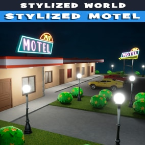 Stylized motel with interior and exterior