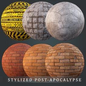 22 Stylized post-apocalypse materials such as rusty metal, concrete, brick, caution tape etc