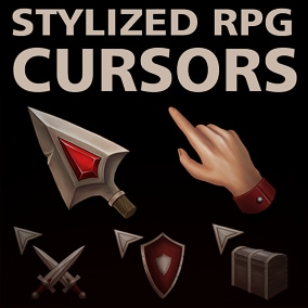 100 unique stylized RPG cursors, 3 versions each