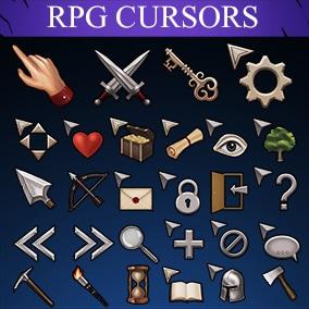100 unique stylized RPG cursors, 3 versions each