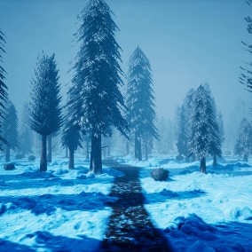 A set of nature assets to make a stylized snowy forest environment.