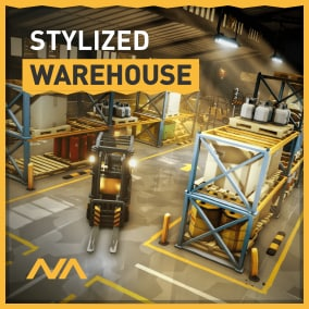 A modular stylized asset pack to build an interior warehouse environment.