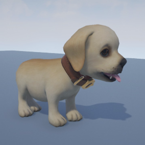 Stylized puppy. Low poly count, good for mobile games.