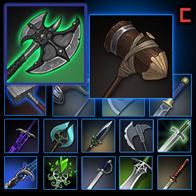 214 stylized hand-painted weapon icons