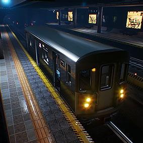 A subway station with subway car