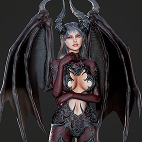 3D model of cute Succubus. Wings and face rig included. Contains different color variations for skin, clothes, eyes, hair and armor.