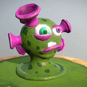 """Low poly model """"Sucker virus (bacteria or aliens)"""" was made for cartoon games."""