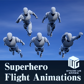 This is a set of animations, additive poses, simple VFX, and Blueprints to form a flight system.