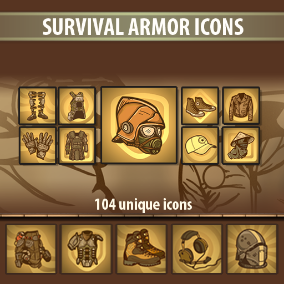 A set of 104 Survival Armor Icons.
