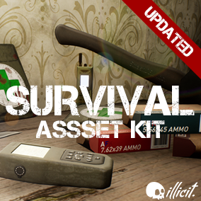 Contains assets like medkit, ammo boxes, knife, axe, barrel, GPS locator and more perfect for FPS/TPS/VR game.