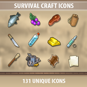 A set of 131 Survival Craft Icons.