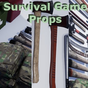 Survival Game props, this pack is to use in a survival like environment where axes, knifes, and backpacks are essential tools.