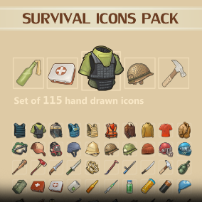A set of 115 Survival Icons.