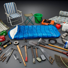 Various items which could be useful when you are far from home and safety.