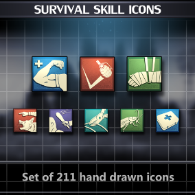 Set of 211 hand drawn Survival Skill Icons.