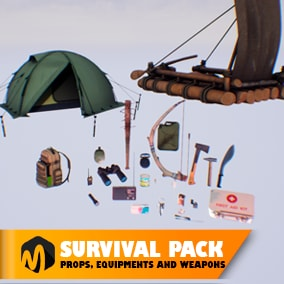 Survival pack - props, equipments and weapons - ideal for your apocalypse pack.