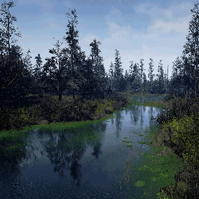 Plenty of dying trees and bushes with grass and props to create an algae and bug-filled swamp.