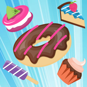 Bakery Shop, Ice Cream, Cakes, Drinks, or Match 3 Puzzle 2D Game Assets